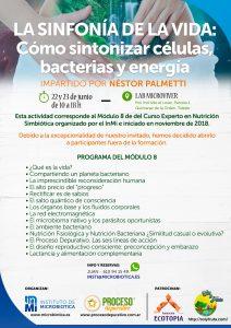 Cartel Taller Nestor Palmetti: La sinfonía de la Vida: Cómo sintonizar células, bacterias y energía.